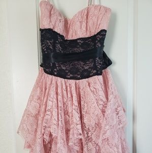 Lace dress coral and black